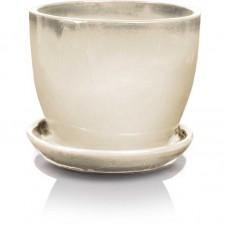 Стеклянный вазон белый