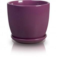 Горшок с подставкой фиолетовый