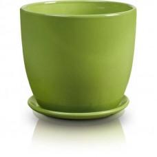 Горшок с подставкой зеленый