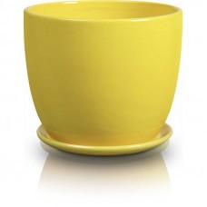 Горшок с подставкой желтый