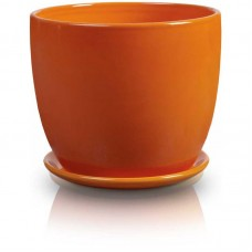 Горшок с подставкой оранжевый